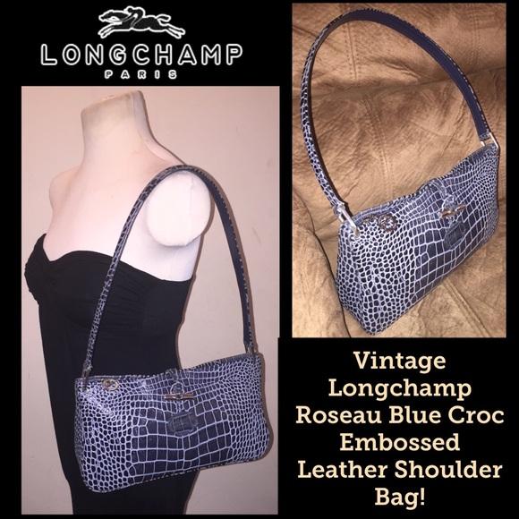 VTG Longchamp Roseau Croc Embossed Shoulder Bag!