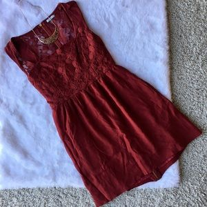 UO Kimichi Blue Red Lace Dress Pockets XS