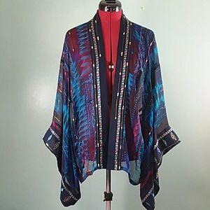 Chico's SILK short kimono embellished size sm