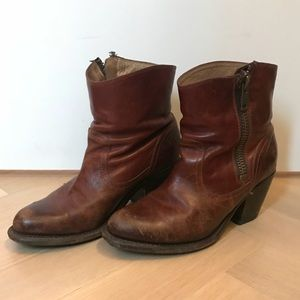 Frye Brown Melissa Whip Zipper Boots Retired Style