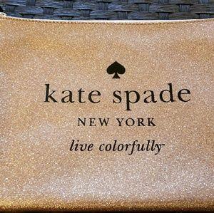Kate Spade Rose Gold Glitter Gia Zipper Clutch