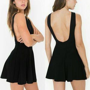 American Apparel Black Ponte Skater Dress XS