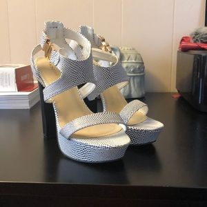 Black and white heel