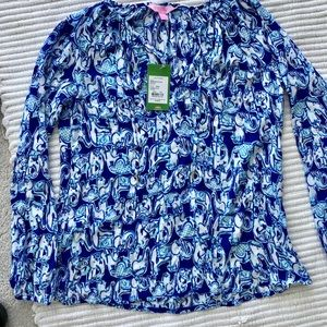 Lilly Pulitzer WILLA Tunic Top Bomber Blue Sz XS.