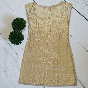 ALICE + OLIVIA GOLD SEQUINED STATEMENT DRESS