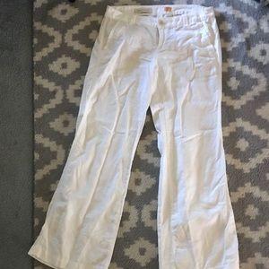 White linen wide leg trouser
