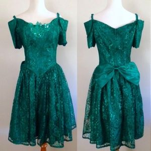 1990s Emerald Green Prom Dress Off the Shoulder