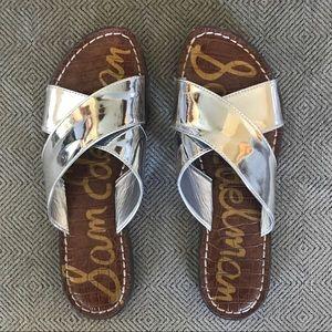 SAM EDELMAN metallic silver criss cross sandals