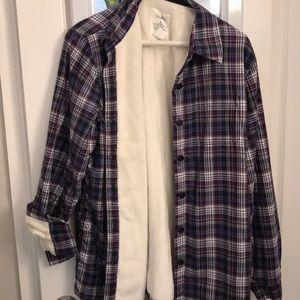 Never worn fleece lined flannel button down