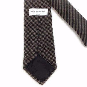 Taupe / Black Plaid Wool Men's Tie Giorgio Armani