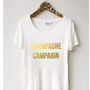 NWT T&J Designs Champagne Campaign Tee, M
