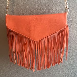 Handbags - Orange fringe purse