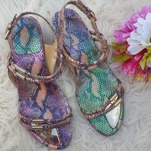 Stuart Weitzman  snake color sandal.