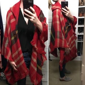 Red Plaid Hooded Poncho Wrap Cape