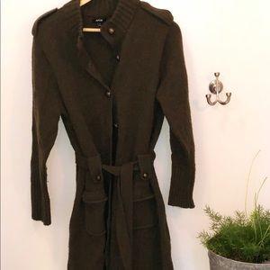 Long military style Cardigan/ sweater coat