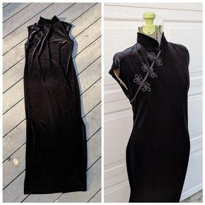 90's Vintage High Collar Black Velvet Maxi Dress