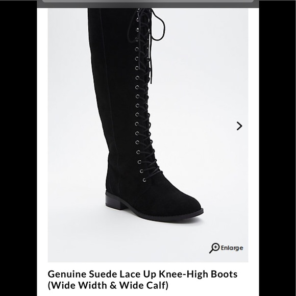 bfea3bd2e6d Genuine Suede Lace Up Knee-High Boots
