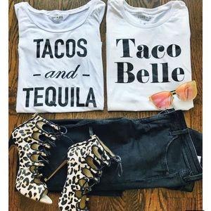 NWT T&J Designs Tacos & Tequila flowy tee, S & M