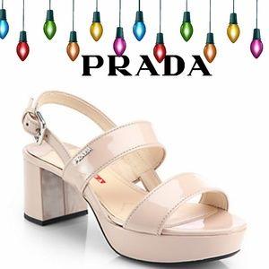 Prada Patent Leather Platform Block Heel Slingback