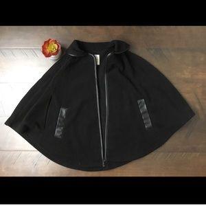 Copper Key black fleece and vegan leather cape