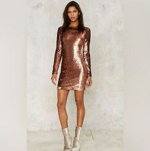 Sequined body con dress