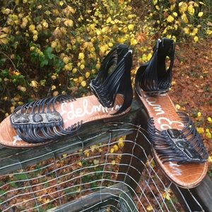 Sam Edelman gladiator stone sandals zipped back