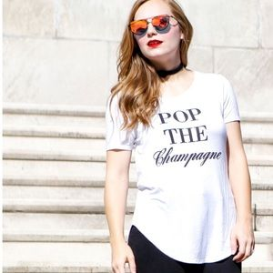 NWT T&J Designs Pop the Champagne flowy tee, S