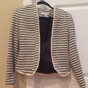 Collarless cream and navy striped blazer