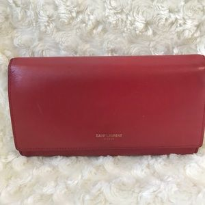 Yves Saint Laurent Lambskin Leather Envelope Long