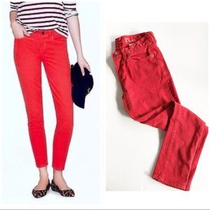 J. Crew Toothpick Garment-Dyed Red Ankle Jeans 27