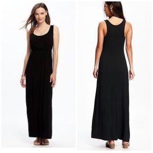 Scoup neck ribbed black tank top Maxi dress