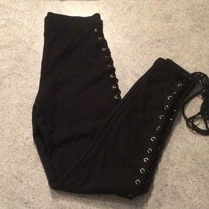 Lace up legging pants