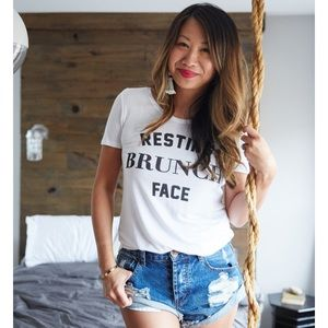 🎉SALE LAST 1💓NWT Resting Brunch Face Tee, M