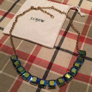 J. Crew blue aqua iridescent statement necklace