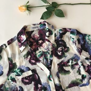 Express | white floral button up blouse