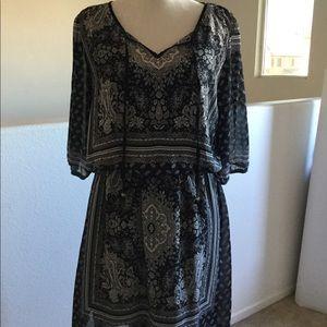 Black paisley print dress. Fully lined