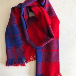 Blue & red plaid winter scarf 🧣100% wool