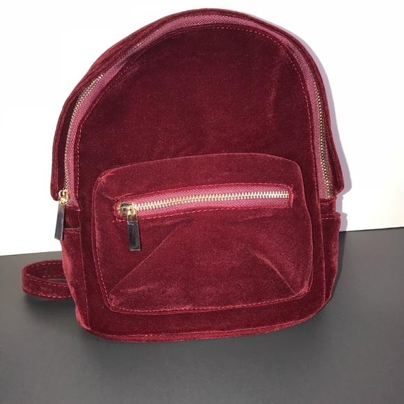 a7403308dc Shein Bags | Mini Burgundy Velvet Backpack | Poshmark