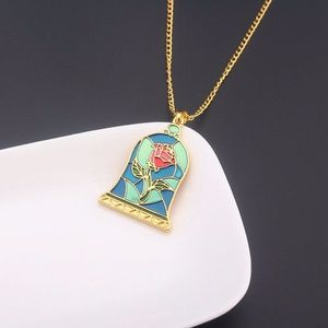 Beauty and the Beast Stained Glass Rose Necklace