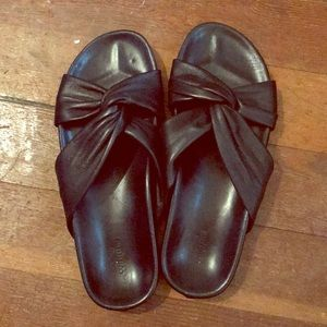 Black leather slides - like new