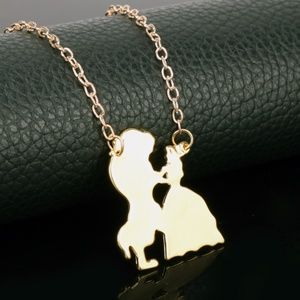 Gold Beauty and the Beast Necklace
