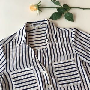 Express | navy blue and white striped blouse