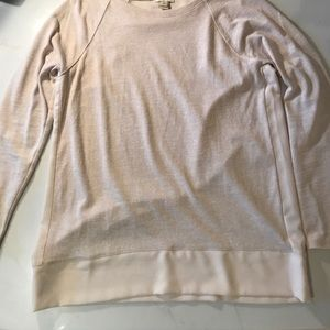 Tan long sleeve top with a silk back