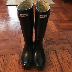 Tall Black Hunter Boots- Gloss