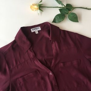 Express | maroon button up blouse