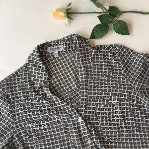 Express | black and white patterned button up top