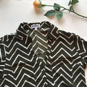 Express | olive green and cream chevron blouse