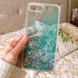 Liquid Glitter Heart Star 7plus Iphone Case, Green