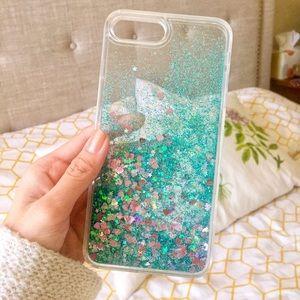 Accessories - Liquid Glitter Heart Star 7plus Iphone Case, Green