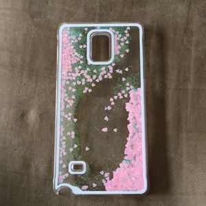 Pink glittery clear case for Note 4